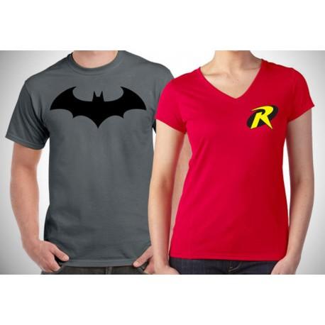 Set  párových triček Batman and Robin. Ideální dárek pro zamilované páry