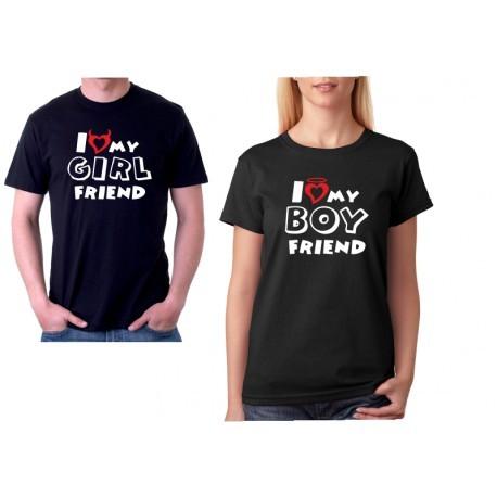 Sada triček pro páry I love my Girl / Boyfriend