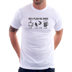 Pánské tričko Můj plán na dnes, vtipný dárek pro rybáře