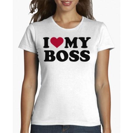 Dámské tričko I love my boss, mám ráda svého šéfa. Trika na šéfovou oslavu