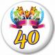 Kulatá placka s potiskem čtyřicet let, pro oslavence 40. narozenin