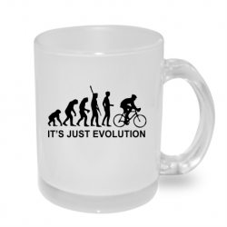 Hrníček s potiskem evoluce cyklisty, dárek pro milovníka jízdy na kole