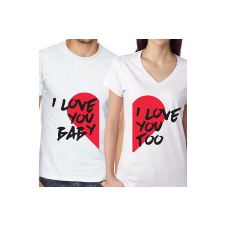 Trička pro páry I love you baby. I love you too. Dárek k valentýnu.