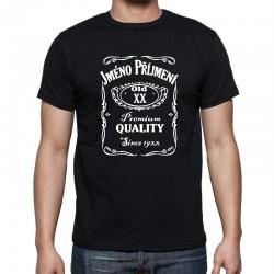Dárek k narozeninám tričko s potiskem motivu Jack daniels. Pánské tričko k narozeninám s potiskem jména, věku a rokem narození.