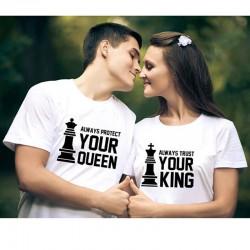 Trička pro páry Always protect your Queen. Always trust your King. Dárek k Valentýnu