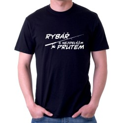 Pánské tričko Rybář s nejdelším prutem, dárek k narozeninám pro rybáře.
