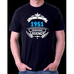 Dárek k 70 narozeninám. Pánské tričko s potiskem 1951 narození legendy.