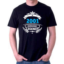 Pánské triko 2001 narození legendy. Dárek k 20 narozeninám.