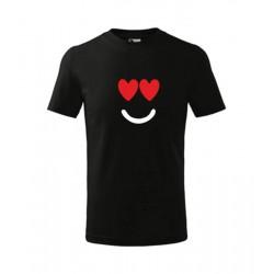 Pánské tričko s roztomilým motivem srdcového úsměvu,  ideální dárek k Valentýnu