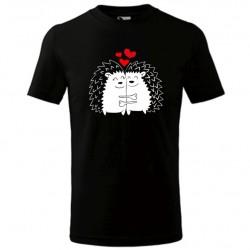 Zamilovaní ježci - pánské tričko perfektní dárek k svátku zamilovaných, ideální Valentýnský dárek