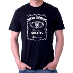 Pánské tričko s potiskem jména a příjmení, věkem 40 a rokem narození v motivu jack daniels. Dárek k 40 narozeninám.