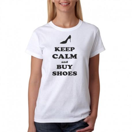 Keep Calm and Buy Shoes - Dámské Tričko s vtipným potiskem