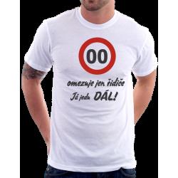 Narozeninové pánské tričko - Vámi zvolený věk - omezuje jen řidiče, já jedu dál.
