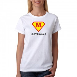 Dámské tričko s potiskem super máma ve znaku supermana. Dárek pro maminku
