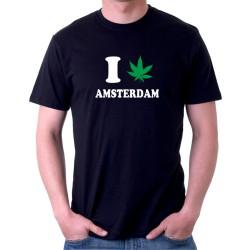 Pánské tričko s vtipným potiskem I canabis Amsterdam